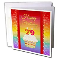"3dRose gc_244829_5 6 x 6-Inch""Cupcake with Number Candles 79 Years Old Birthday"" - Greeting Card"