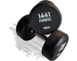 1441 Fitness Solid Rubber Round Dumbbell Set with Ergonomic Knurled Handle for Full Body Workout & Muscle Toning Exercise, Fr