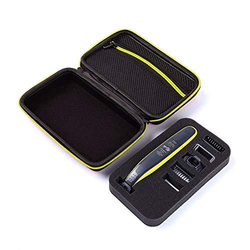 Tasche für Philips Norelco OneBlade Hybrid-Elektrorasierer QP2520 / 70/90 Hard Bag Organizer mit Aufbewahrungsfach für die Reise (Schwarz, Grün, Reißverschluss Neu)