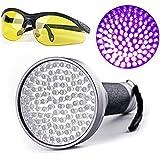 100 LED Linterna Ultravioleta UV con Gafas Protección Linterna de Mano de Violado Para Detectar Escorpiones/Agente Fluorescente/Orina del Perro Mascota/Moneda y mas -Duomishu