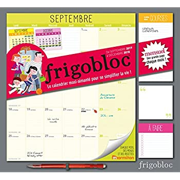 Frigobloc (édition Septembre 2017-  Décembre 2018)- Calendrier d'organisation familiale par mois
