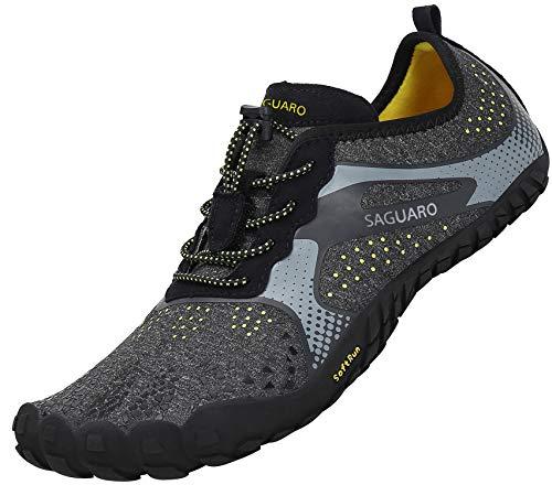 SAGUARO Scarpe Barefoot Uomo Donna Scarpe da Immersione Sport Acquatici Trekking Palestra Fitness Asciugatura Rapida Scarpette da Trail Running, Nero 36