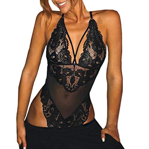 Werstand Sexy Spitze Dessous für Damen Tiefer V-Ausschnitt Unterwäsche Neckholder Lingerie Mesh Transparenter Reizwäsche Öffnen Zurück Siamesische Jumpsuit Nachtwäsche (XXL, Schwarz) -