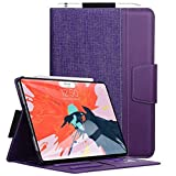 Toplive iPad Pro 12.9 Case (2018), [Support Apple Pencil Charging] Canvas Stand Folio Case Cover for Apple iPad Pro 12.9 inch 2018 with Auto Sleep Wake Function and Multiple Viewing Angles, Purple