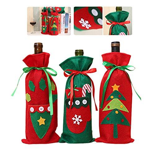 Weihnachten Wein Flasche Sets Versorgung Alter Wein Tasche Wein Flasche Tasche Champagner Wein Tasche Weihnachtsknopf-Wein-Flaschen-Abdeckungs-Beutel-Hülsen-Party Tischdekoration Geschenk (Santa Dress Up)