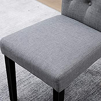BOJU Modern Grey Fabric Dining Room Chairs Only Set of 4 Kitchen Upholstered Chairs Armless with Black Wood Legs Studded with Button for Restaurant Lounge Furniture (Grey, 4)