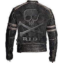 Leatherly Biker Vintage apenado genuino cuero chaqueta realzada insignia  del cráneo en espalda