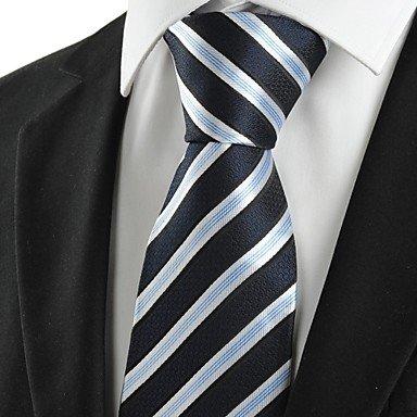 Handgemachte Weiß-gestreift Seide Krawatte (FYios®Neue gestreift weiß Blau Classic Mens Krawatte Krawatte Hochzeit Geschenk #1028)