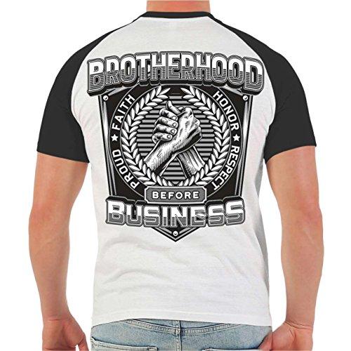 Männer und Herren T-Shirt Brotherhood before Business (mit Rückendruck) Größe S - 8XL Weiß/Schwarz