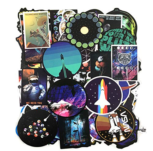 DZCYAN 50 PCS Outer Space Sticker UFO Alien Astronaut Rocket Cartoon Stickers Gifts Toys for Children DIY Skateboard Laptop Car Phone -