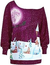 VJGOAL Mujer Otoño e Invierno Tallas Grandes de Moda Casual Navidad Impresión Digital 3D Sexy Fuera del Hombro Cuello de Hombros Oblicuo Manga Larga Sudadera Suéter Top Blusa