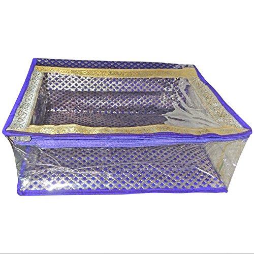 Banarsi Kanjeevaram Paithani Silk Work Saree Box Zip Covers - Set of...