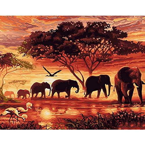 Puzzles De 1000 Piezas Para Adultos 3D. Sunset Elefantes Animales Bricolaje Arte...