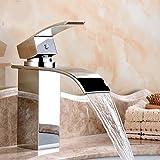 Deck Mount Wasserfall Bad Wasserhahn Vanity Vessel Waschbecken Mischbatterie Kalt-Und Warmwasserhahn