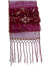 Gulshan Sequin Sheer Silk Organza Stole Shawl Scarf Wrap Table Runner Fringe Burgundy Red Gold