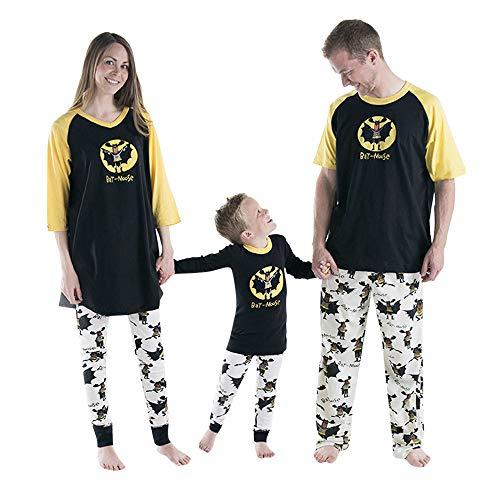 Rosennie 2 STÜCKE Halloween Kind Mama & Papa Langarm Brief Drucken Bluse + Hosen Familie Kleidung Pyjamas Set Mode Buchstaben Fledermaus Gedruckt Nachtwäsche Paar Hemd+Hose (Schwarz A,XL)