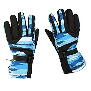 1 Pair Men's Waterproof Breathable Snow Ski Sports Gloves Outdoor Cycling Windproof Gloves - black red