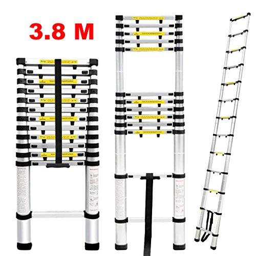 Finether Escalera Telescópica de Aluminio, Escalera Extensible Multifuncional Portátil 3,8M con Protección...