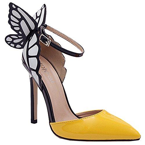 Europa und die Vereinigten Staaten Schmetterlingsflügel Glanzleder-Frauen mit spitzen Schuhen Gelb