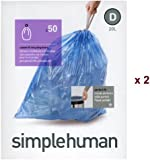 simplehuman Bin Liners (100), Code D, 20 Litre, 2 Packs x 50, CW0211