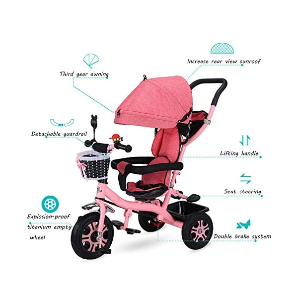 BGHKFF 4 In 1 Children's Hand Push Tricycle 6 Months To 6 Years 2-Point Safety Belt 360° Swivelling Saddle Children's Pedal Tricycle Folding Sun Canopy Childrens Tricycles Maximum Weight 25 Kg,Pink BGHKFF ★Material: Steel frame, suitable for children from 6 months to 6 years old, the maximum weight is 25 kg ★ 4 in 1 multi-function: can be converted into a stroller and a tricycle. Remove the hand putter and awning, and the guardrail as a tricycle. ★Safety design: Golden triangle structure, safe and stable;2 point seat belt + guardrail; rear wheel double brake 5