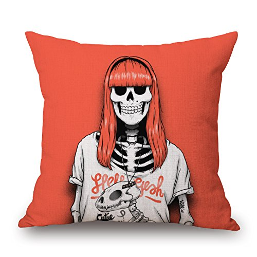 Loveloveu Slimmingpiggy Comfortable Bedding A Skeleton Girl With Orange Sea Hair 18x18 Inch Pillow Case Cushion Cases 18 X 18 Inches / 45 By 45 Cm Best Choice For Kitchen,living Room,study Room,sho