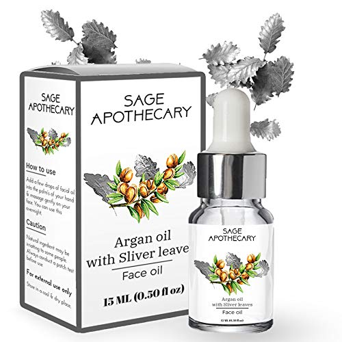 Sage Apothecary Argan Face Oil with Silver Leaves, Face Serum For Facial Glow, Anti Aging