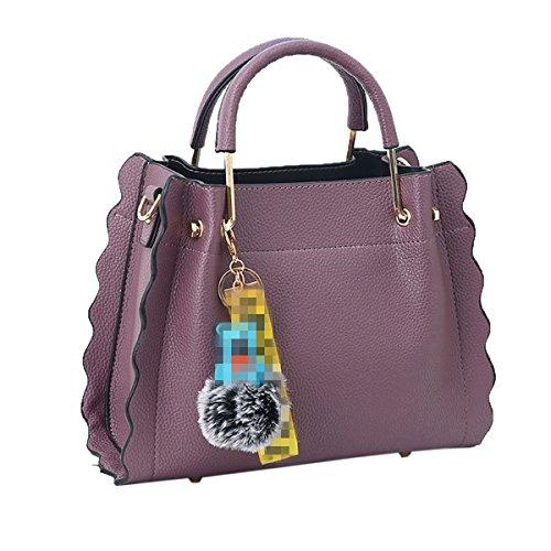 Lady Fashion Echtes Leder Handtasche Schultertasche Satchel Top Griff Tasche Für Frauen Multicolor,Purple-M -