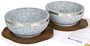 Set of 2 Dolsot Bowls, By Spiceberry Home - Granite Stone Bowls Used for Korean Cooking and Recipes, Especially Bibimbap