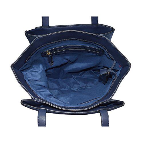 Lookat Borsa a Mano da Donna in Eco Pelle effetto scamosciato 40x33x13 Cm Blu