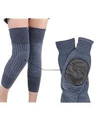 Unisex regla elástica lana Cachemira rodillas calentadores calentadores de la pierna rodilleras rodillas Brace apoyo manga rodilleras para mujeres hombres mantener caliente en tiempo frío, luz gris