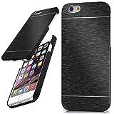 moex iPhone 6S | Hülle Dünn Schwarz Aluminium Back-Cover Schutz Handytasche Ultra-Slim Handy-Hülle für iPhone 6/6S Case Metall Schutzhülle Alu Hard-Case