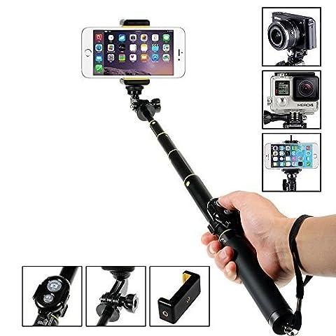 Perche Monopode, Amorus® Perche de Selfie stick sans fil Bluetooth monopode pour iPhone 6/6 Plus, Samsung Galaxy S6 / S6 Bord / Note 4, Gopro Hero / Hero3 / Hero3 + / Hero4 Hero4 session /, appareils photo numériques et autres smartphones (Noir)