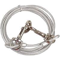 Correa de cable de acero inoxidable para perros, cable para atar perros medianos y grandes en campings y al aire libre