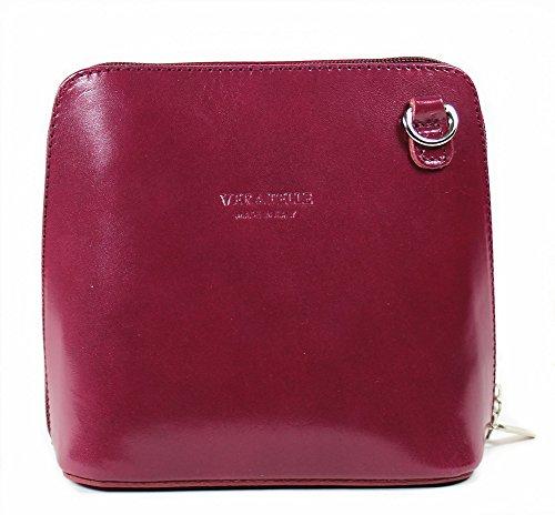 Vera Pelle Italiana Piccolo Croce Corpo Borsa o borsa a tracolla Purple Small Plum Red