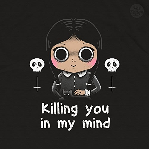 FELPA DONNA KILLING YOU IN MY MIND ADDAMS FAMILY FAMIGLIA HALLOWEEN VT0032A PACDESIGN Black