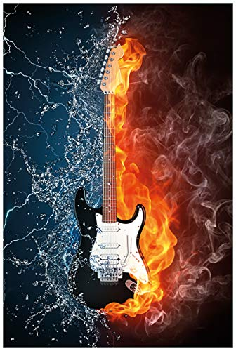 Wallario Poster - Feuer-Wasser-Gitarre in Premiumqualität, Größe: 61 x 91,5 cm (Maxiposter) - Feuer E-gitarre