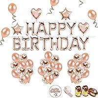 iZoeL Geburtstag Rose Deko Happy Birthday Girlande 36 Rosegold Ballons 15 Konfetti Ballons 4 Herz Stern Folienballon 10G Konfetti