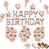 iZoeL Anniversaire Ballon Rose Kit Guirlande Happy Birthday Ballon, 15 Ballons Confettis Rose Or, 36 Latex Ballon Rose Or, 4 Ballons Chiffre étoile et Coeur