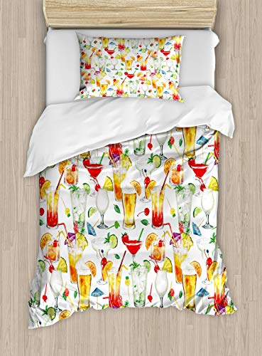 ettbezug Set Einzelbett, Tropische Cocktails, Kuscheligform Top Qualität 2 Teiligen Bettbezug mit 1 Kissenbezüge, Mehrfarbig ()