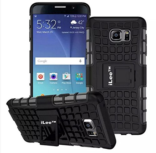 iLee Premium Kickstand Hybrid Back Cover for Samsung Galaxy Note5- Color: Black (12 Months Warranty)