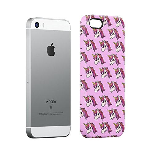 Black 99 Percent Unicorn Rainbow Colors Apple iPhone 5 , iPhone 5S , iPhone SE Snap-On Hard Plastic Protective Shell Case Cover Custodia Pink Unicorn Head