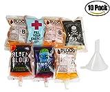 KOSBON 250ml Packung mit 10 Halloween Vampir Blut Taschen mit wiederverwendbarem Trichter, 5 Muster Neuheit Artikel Plastikflasche Mund Terror Halloween Trinkbeutel Party Zubehör. (Pack of 10)