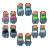 Yuccer Cordones Zapatillas Elasticos, Paquete de 6 Cordones de Goma de los Niños de Silicona Resistente al Agua (Paquete de 6)