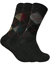 Sock Snob - Mens 3 Pack Thin Lambs Wool Blend Argyle Patterned Padded Sole Soft Top Socks