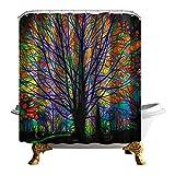 QEES bunter Duschvorhang Künstlerische Bilder Wasserdichter Dusche Vorhang aus Polyster Anti-Schimmel Textilien Wasserabweisend Mit Ringen YLB04 (Schwarzer Baum)
