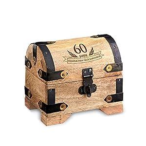 Casa Vivente Kleine Schatztruhe zum 60. Geburtstag, Schmuckkästchen mit Gravur, Aufbewahrungsbox aus hellem Holz, Verpackung für Geldgeschenke
