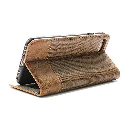 """Boriyuan Iphone 7 4.7 Hülle PU Flip Leder Case Tasche Cover Schutzhülle für Iphone 7 4.7"""" Wallet Design mit Fächern für Bankkarte, Displayschutzfolie für Iphone 7 4.7 inklusive (Dunkelbraun) Hellbraun"""