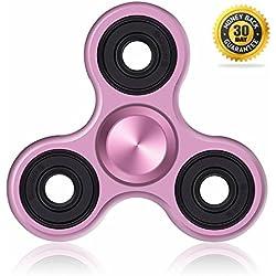 Fidget Spinner de Vivahouse | Juguete Hand Spinner Alivia Estrés y Ansiedad TDAH Autismo TDA Para Más Calma Claridad Atención | Gadget Silencioso de Giros de Aleación de Aluminio Tamaño Bolsillo (Petunia Rosa)