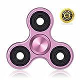 Vivahouse Fidget Spinner | Hand-Kreisel Stress- + Angstabbau Spielzeug | ADHS Autismus ADS | Hilfe Beruhigung Klarheit + Konzentration | Leise drehendes Gadget in Aluminiumlegierung | Taschengröße (Pinke Petunie)